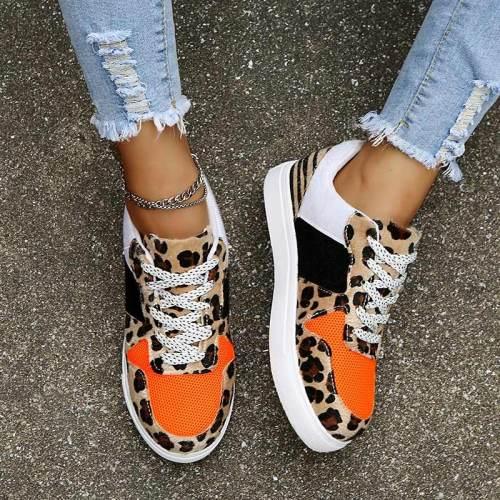 New Women Leopard Vulcanized Shoes Female Sneaker Lace-Up Flat Comfort Faux Fur Shallow Leisure Ladies Footwear