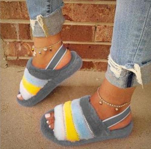 Shoes Woman 2021 Slippers Flat  Low Multicolored Sandals  New Massage Slides Rome Autumn Short Plush Rubber Basic