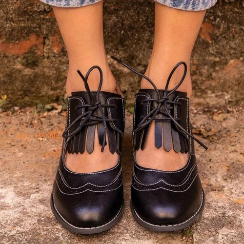 British Women Oxfords High Chunky Block Heels Pumps Brown PU Round Toe Designer Brogues Casual Office Lady Lace-up Vintage Shoes