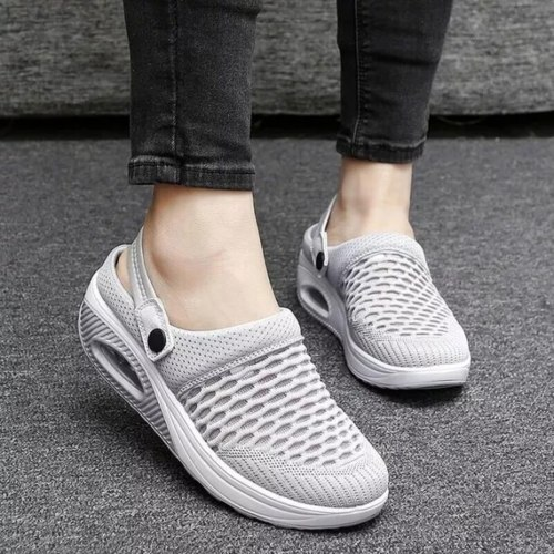 Women Air Mesh Upper Sandals Summer Fashion Solid Color Slip On Mesh Wedges Walking Sandals Sports Casual Shoes Dropshipping