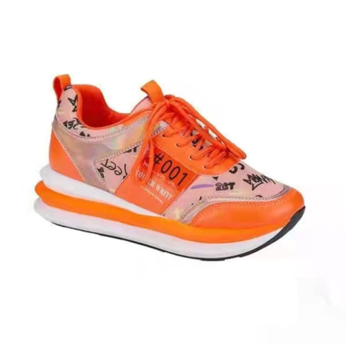 2021 Autumn New Brand Women Platform Sneakers Mixed Color Casual Women Lace Up Walking Shoes Wedge Leisure Ladies Sport Shoes