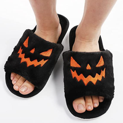 Women Home Indoor Soft anti-slip Faux Fur Cute Slippers Winter Warm Shoes Cartoon Plush Pumpkin Slippers
