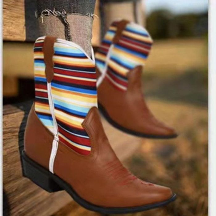 2021 Autumn and Winter Women's Fashion Pu Splicing Pointed Middle Tube Boots Casual Fashion Shoes Are Comfortable