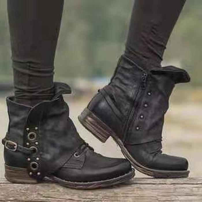 2021Autumn and Winter Boots Women Basic Short Boots  Round Toe Zip Platform Female Shoes  Botas