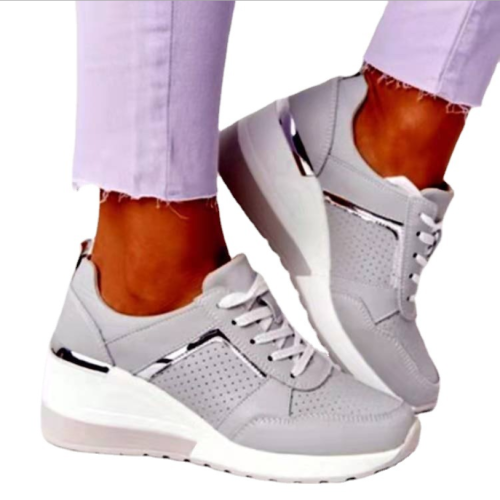 2021 New Women Sneakers Lace-Up Wedge Sports Shoes Women's Vulcanized Shoes Casual Platform Ladies Sneakers