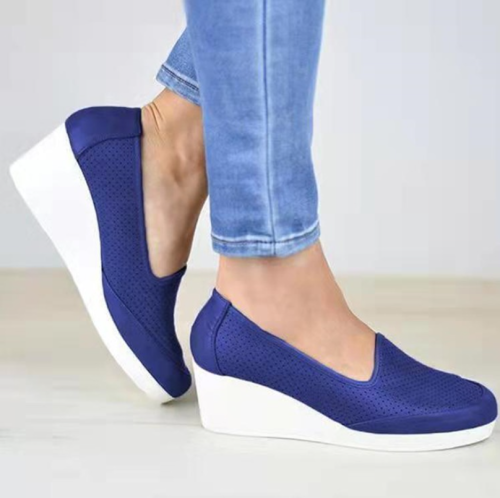 Women's  Wedges Comfortable Shoes Ladies Womens Casual Shoes Breathable Flax Hemp Canvas Pumps