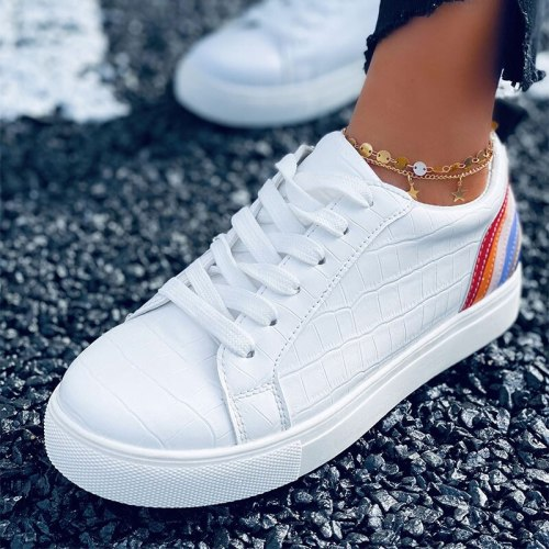 Women Lace Up PU Leather Flats Shoes Ladies Platform Fashion Vulcanized Shoes Female Crocodile Pattern Casual Footwear 2021