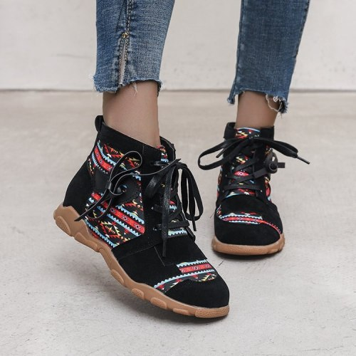 2021 New  Western Style Women Boots Retro Printed Leather Cloth Stitching  Ankle Boots Front Lacing Ladies Shoes