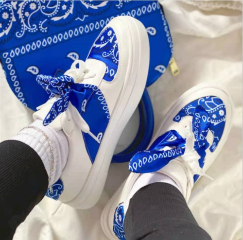 Women White Casual Shoes Riband Lace Leather Waterproof Sneakers with Bow Silk Ribbon 2021 Autumn New Scarf Lacing Low