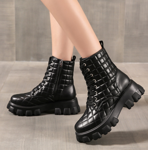 2021 Autumn New Fashtion Platform Pu Leather Women's Ankle Boots Side Zipper Thick Heels Round Head Mesh Women's Casual Boots