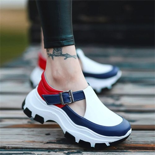 Women's Sandal   New Buckle Strap Hollow Out Chunky Ladies Flats Platform Fashion Comfy Outdoor Female Casual Shoes