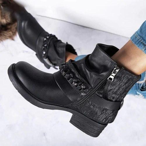 2021 Fashion Black Purple Women Genuine Leather Ankle Boots Chain Decor Punk Style Booties Female Flat Botas