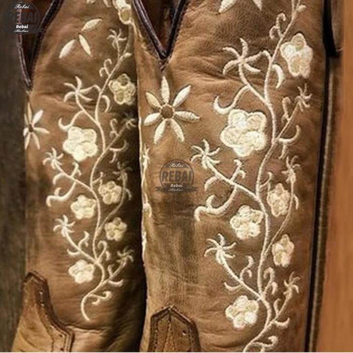 Woman Boots Mild-calf Female Casual Low Heels Vintage West Cowboy Autumn Winter Leather Shoes Women's Cowboy Boots