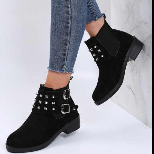Women Shoes Work Boots Goth Platform Winter with Rivets for Autumn Plush Round Toe Chelsea Buckle Botines