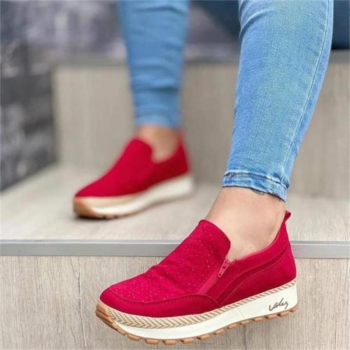 New Women's Shoes Fashion Trend Personality Solid Color Faux Suede Side Zipper Flat Heel Platform Comfortable Casual Shoes