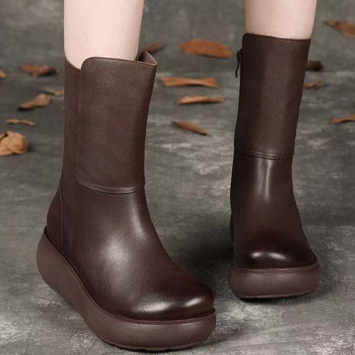 Top Leather Women's Boots 2021 New Leather Retro  Boots Slope Heel Thick Soled Middle Boots Anti Slip Plush Cotton Shoes