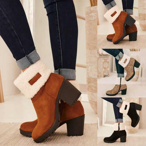Snow Boots For Women Plus Size Autumn Winter Fashion Chunky Heel Side Zipper Short Cotton Ankle Boots Comfortable Warm Shoes