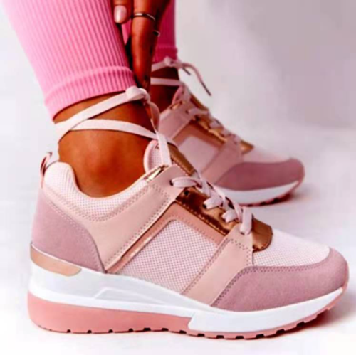 2021 New Women Sneakers Lace-Up Wedge Sports Shoes Women's Vulcanized Shoes Casual Platform Ladies Sneakers Comfy Females Shoes 3 orders