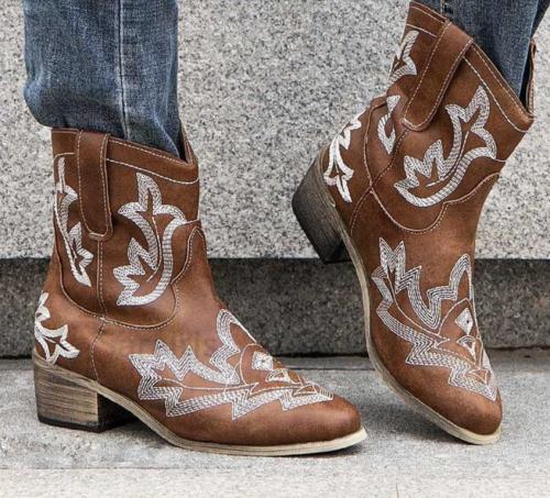 Big Size 48 Vintage Square Heels Autumn Winter Shoes Woman Western Cowboy Boots Female
