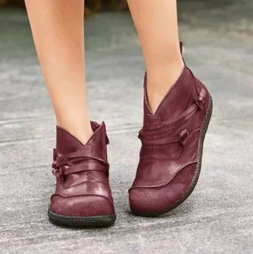 2021 Women Boots Snow Boots PU Ankle Spring Flat Shoes Woman Short Brown Botas with Fur 2021 Female Lace Up Botas