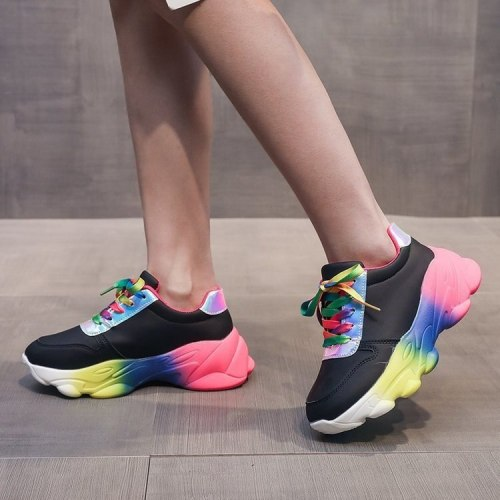 Size 35-42 Womens Sneakers Spring Autumn Mujer Platform Rainbow Bottom Zapatillas Female Vulcanize Shoes Lace-Up