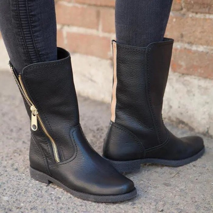 Plus Size  Women Riding Knight Mid Calf Boots Zipper Low Heels Winter Shoes Female Comfort Casual Western Booties