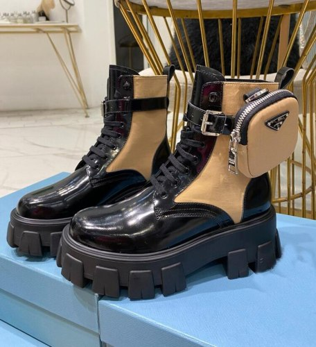Design Red Genuine Leather Botas Spring/autumn Thick Sole High Heel Pockets Knight Boots Belt Buckle White Woman Shoes