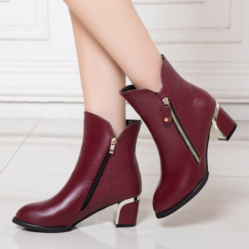 Women's PU Leather Ankle Boots Women Zipper Pumps Woman Pointed Toe Mid Heels Ladies Comfortable Shoes Female Casual Footwear