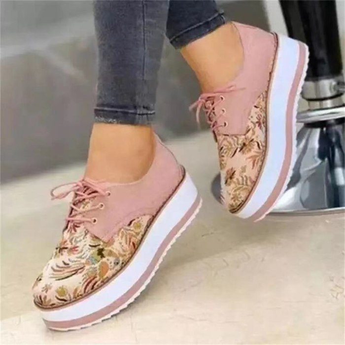 2021 High Quality Embroidered Flowers Platform Shoes Women Flats Zapatillas Mujer Casual Ladies Shoes Feminino Plus size 43