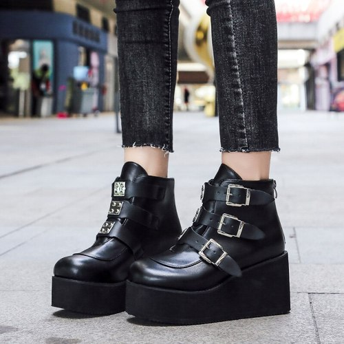 2021 Fashion PVC Strap Decorating High Wedges Shoes High Platform Ankle Boots Metal Buckle Ankel Boots Punk Boots PU Women Boots