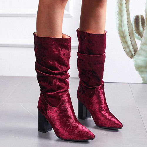 Rimocy Vintage Flock High Heels Mid Calf Boots Women Wine Red Slip on Pointed Toe Boots Woman Plus Size Autumn Pleated Botas 43