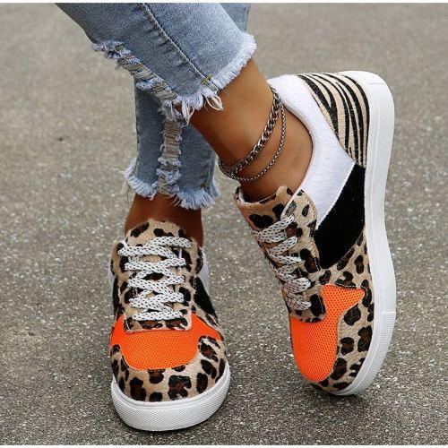 New Women Leopard Vulcanized Shoes Female Sneaker Lace-Up Flat Comfort Faux Fur Shallow Leisure Ladies Footwear Zapatos De Mujer