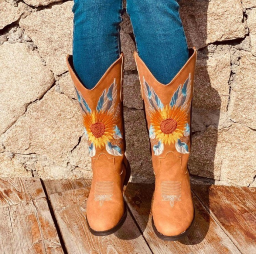 Cowboy Boots Pu Leather Embroidery Low Heels Women Shoes Autumn Winter Platform Vintage Ladies Western Riding Boots