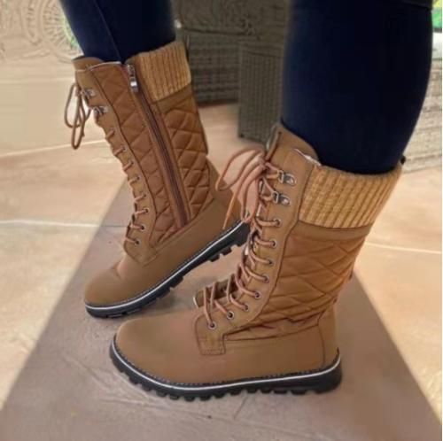 2021 New Women Big Size Winter Snow Boots Dark Colour Warm Fur Insole  Non-slip Outsole Zipper Upper Lace Up  Botas