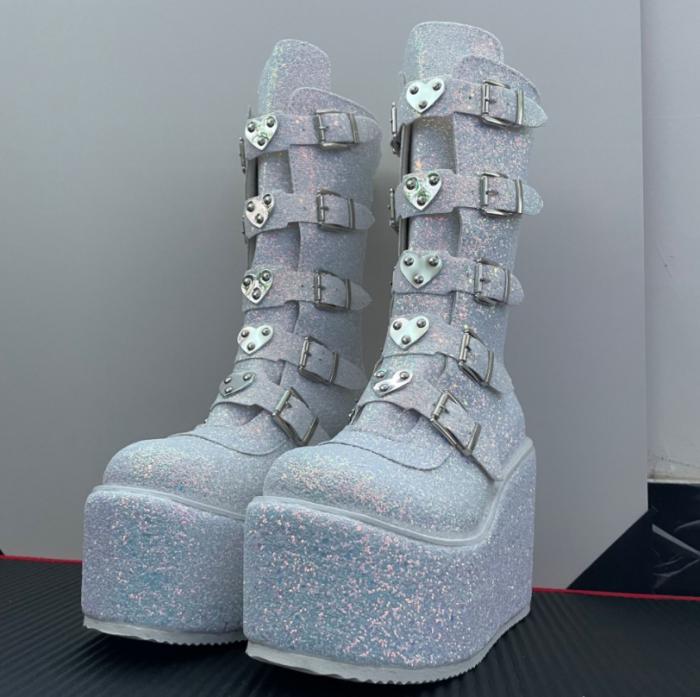 Winter Gothic Punk Womens Platform Boots Black Buckle Strap zipper Creeper Wedges Shoes Mid Calf Military Combat Boots