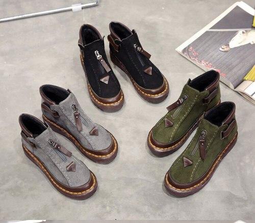 2021 Winter Fashion Women Ankle Boots Plush Lining Warm Shoes Ladies Zipper Flat Casual Chelsea Boots Women's Footwear Boots