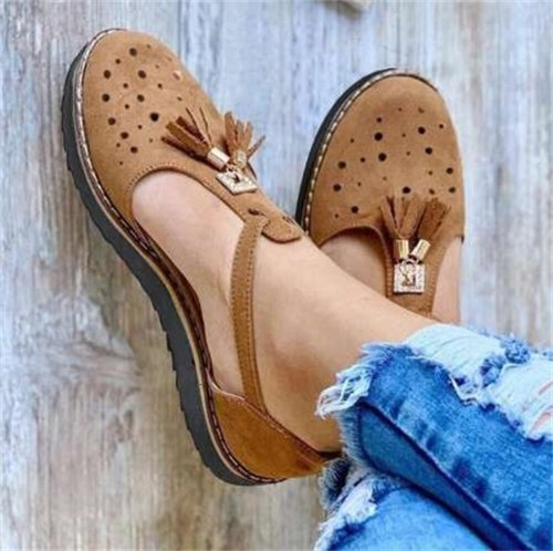Summer Comfy Loafers Women 2021 New Hollow Out Breathable Ladies Buckle Casual Shoes 35-43 Tassel Female Outdoor Flat Sandals