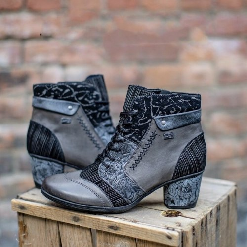 Autumn/Winter Pre-sale New Style Fashion Stitching Retro Flower Texture Thick Heel Lace-up Women's Boots