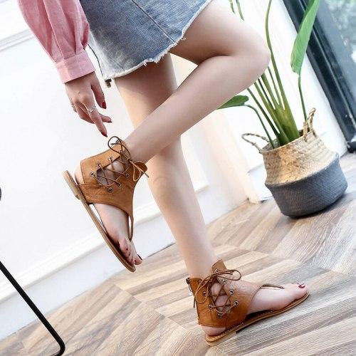 Women Sandals Vintage Summer Women Shoes Gladiator Sandals Flip Flops for Women Beach Shoes Leather Flat Sandalias