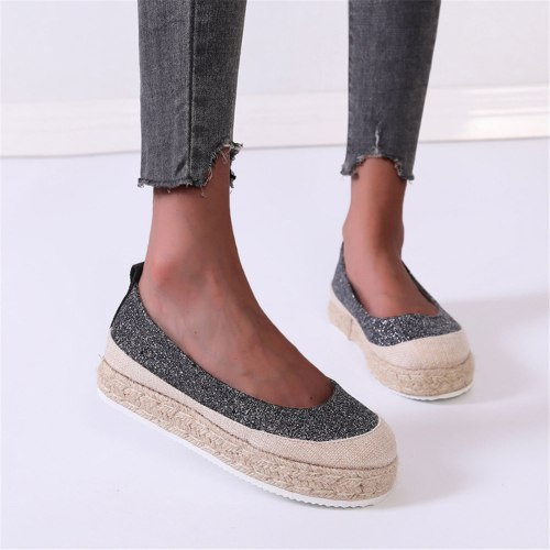 Women Shoes Fashion Large Size Breathable Comfortable Pure Color Casual Shoes Hemp Rope Woven Platform Walking Shoes Loafers