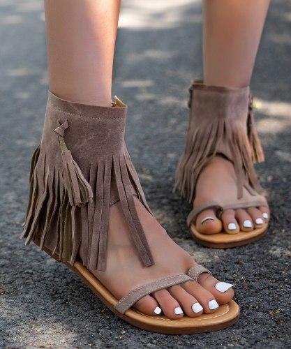 Roman Style Zip Sandals for Women, 2021 Autumn New Bohemia Fringe Flat Sandalias, Retro Gladiator Ladies Clip Toe Vintage Boots