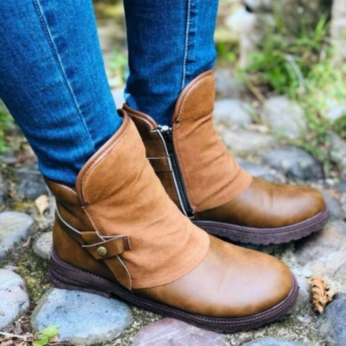Winter New Women Fashion PU Leather Low Heel Knight Boots Round Toe Boots Warm  Comfortable Cowboy Short Boots Snow Boots 5KE494