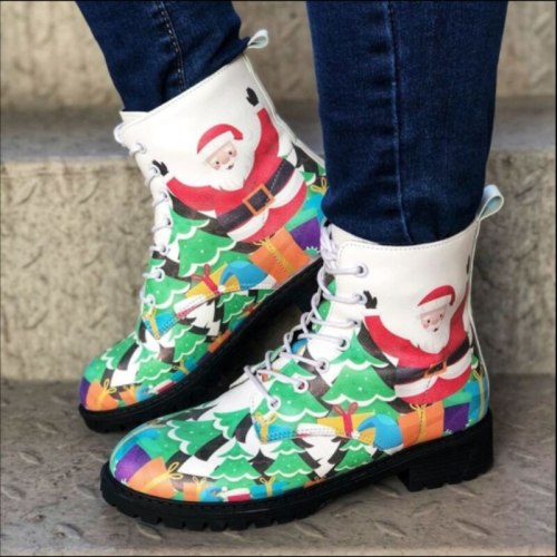 New Winter Women Fashion PU Leather Lace Up Printed High Top Martin Boots Warm Snow Boots Round Head Fashion Boots KN297