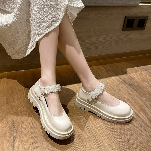 British Style Pumps 2021 Autumn New Fashion Hook&Loop Low Heel Ladies Platform Shoes Waterproof Dress Female Leather Shoes 35-40