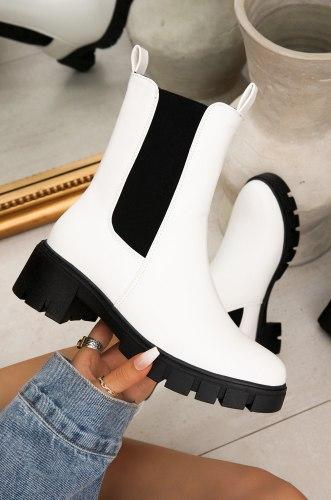 Bottines Chelsea en cuir PU noir pour femme grosses chaussures  peluche plate-forme mode automne