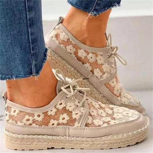 2021 New Women's Shoes Fashion Sweet Lace Flower Lace Stitching PU Round Toe Flat Heel Platform Comfortable Casual Shoes XM238