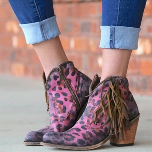 Female Autumn Winter Lace PU Leather Cowboy Ankle Boots Women Wedge High Heel Booties Snake Print Western Cowgirl Boot