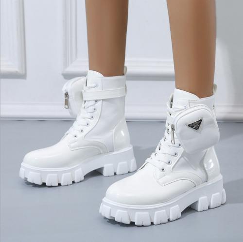 Ladies Boots Shoes Female Autumn Pocket Ankle Boots Design Thick Bottom Round Toe Lace Up British Fashion Plus Size 2021 Fashion