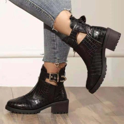 Fashion Zipper Buckle Women's Boots Print Mid-heel Leather Short Boots Warm Women Shoes Autumn Winter Luxury Brands Ankle Boots
