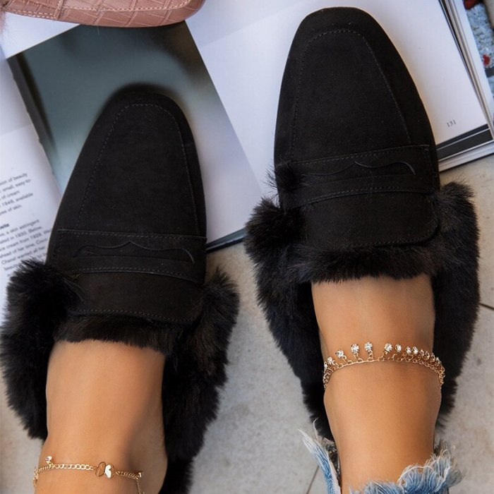 Women Slippers 2021 Winter Shoes for Women Slippers Casual Warm Fur Women Shoes Fashion Rome Flat Flip flop Home Slippers